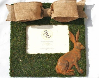 French Country Moss Covered 11x11 Picture Frame with Burlap and Rusty Tin Bunny