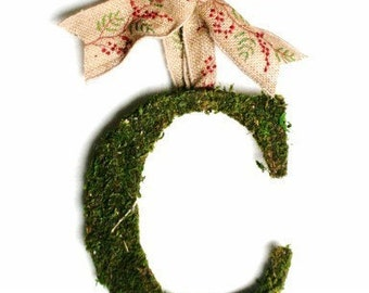 Moss Covered 6 inch Letter Initial Monogram Wedding Door Christmas Wreath