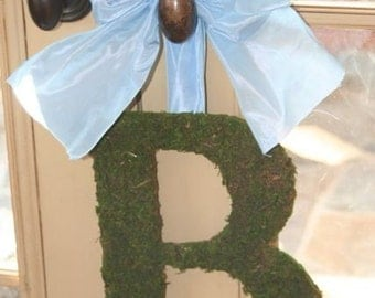 Moss covered 12 Inch  Monogram Nursery Wedding Wall Initial