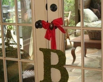 Country French Moss Covered Monogram 12 inch Initial WEDDING Door Wreath
