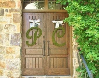 Script Moss Wedding Letters Church Door 24 Inch SET of 2
