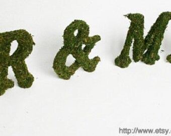 Moss Wedding STANDING Letters 6 Inch MR & MRS