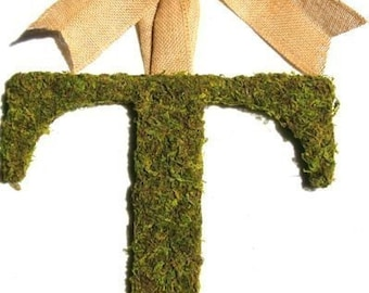 Country French Moss Covered 14 inch Wedding  Initial Monogram Door Wreath