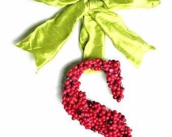 Christmas Holly Berry Initial Letter Monogram Weddin Door Wreath 6 inch