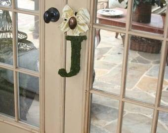 Moss Covered 8 Inch Wedding Letter Initial Monogram Door Wreath