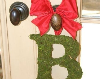 Moss Covered 8 Inch Wedding Letter Initial Monogram Christmas  Wreath