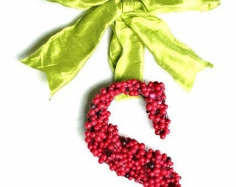 Christmas Holly Berry Wreath 12 inch letter initial monogram Wedding