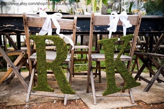 Moss Covered Wedding Initials Church Door Monogram (SET OF 2-18 INCH)