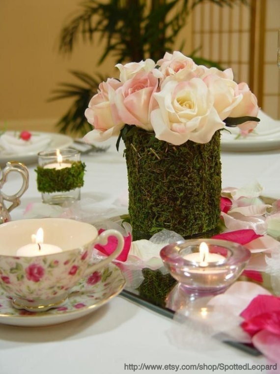 Items similar to moss covered candle vase flower