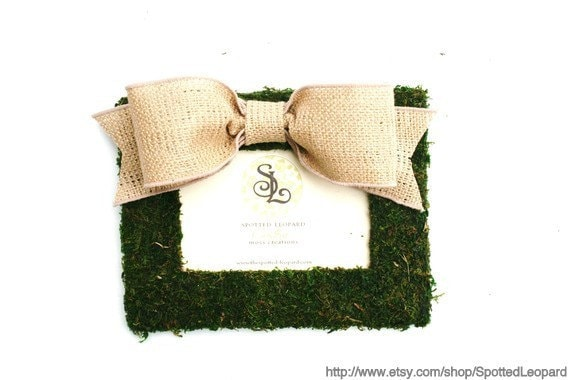 Country French Moss Covered 4x6 picture frame with Burlap Bow
