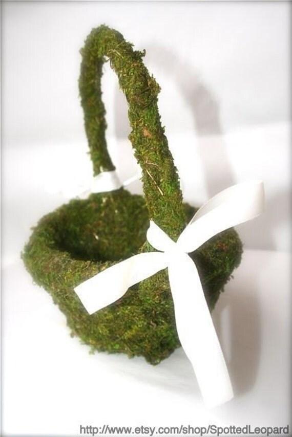Flower Girl Basket Moss : Moss covered flower girl basket by spottedleopard on etsy