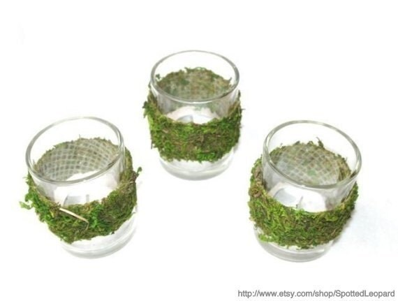 Moss covered tealight candle holder votive