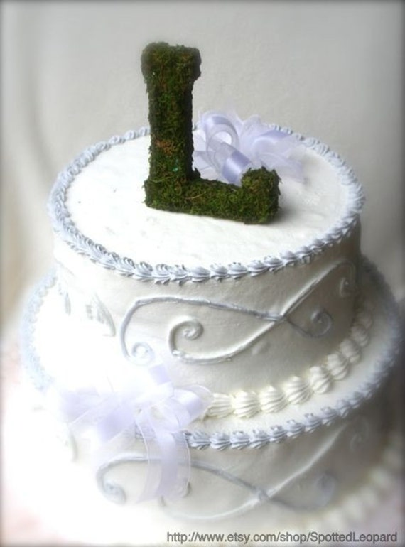 Moss covered 6 inch letter initial Wedding Cake Topper