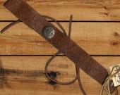 Western rustic necklace choker on tan embossed leather