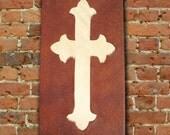 Western rustic hair on cowhide cross wall hanging