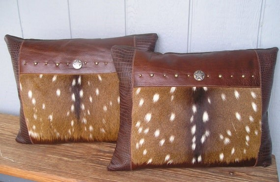 Axis deer fur set pillows, large and luxurious