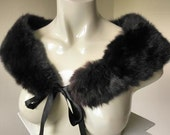 50s Fluffy and Glossy Black Lapin French Rabbit Fur Shoulder Wrap Collar