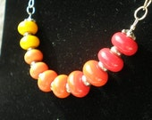 Sunset Necklace - Ombre Yellow to Red Lampwork Glass Beads & Sterling Silver
