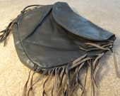 Vintage Gray Leather Purse Handbag with FRINGE and strap
