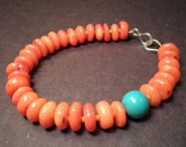 Orange Coral & Turquoise with Sterling Silver Bracelet