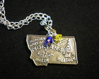 Montana State Bobcats Sterling Silver Map Charm Necklace, Yellow Blue Beaded Pendant- Montana Necklace, Montana Charm, Montana Map