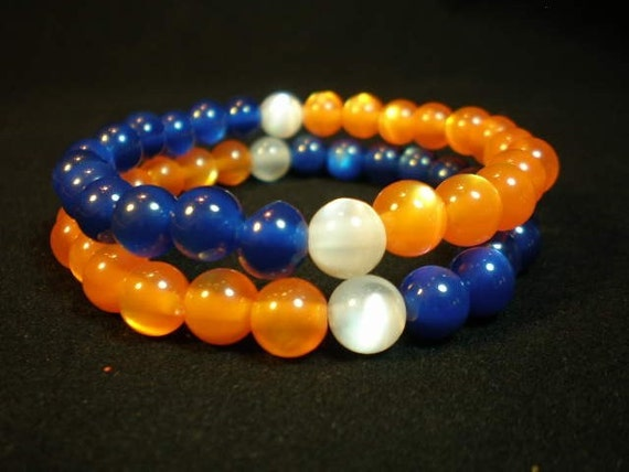 Orange & Blue Beaded Bracelet COLOR BLOCK Bead Stretch Bracelets, Set of 2