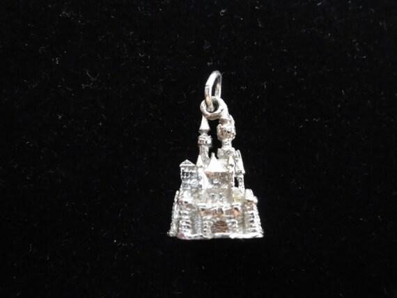 Sleeping Beauty Castle Disneyland Sterling Silver 3D Charm Pendant Vintage