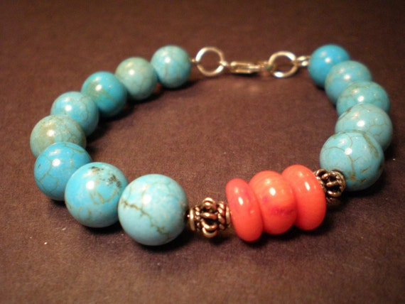 Turquoise & Orange Coral with Sterling Silver Bracelet