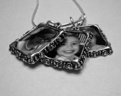 Triple Photo Pendant Necklace - Silver Tone