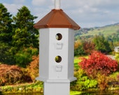 Birdhouse Chickadee  Copper Roof  White Painted Bird House Cottage Chic French Country Coastal beach style