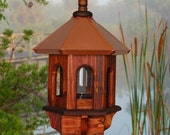 Valentine Gifts, Wild Bird Feeder, Copper Bird Feeder, Rustic Bird Feeder, Gazebo Bird Feeder, Wood Bird Feeder