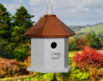 Hanging Bird House, Copper Birdhouses, Painted Birdhouse, Wren Bird Houses