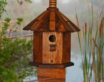 Rustic Bird houses Shake Roof Stain Chickadee Cottage Handcrafted Home and Garden