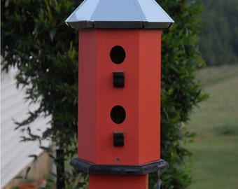 Outdoor Birdhouse Handcrafted Wood Painted Rose with Black Accent  Tin  Metal Roof