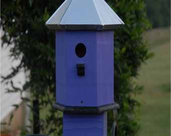 Blue bird House Handmade Metal Roof Wooden Painted Lilac Black Seaside Cottage Chic
