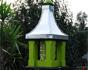 Large Wooden Bird Feeder Handcrafted Metal Roof  Painted Apple with Black Trim  Home and Garden Accents