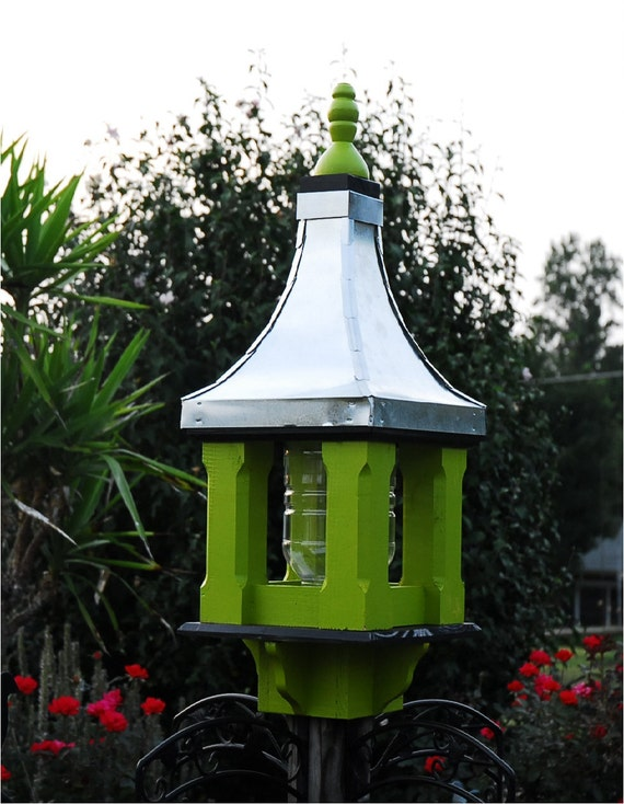 Large wooden bird feeder handcrafted metal roof painted apple for Bird feed tin