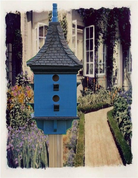 Large Bird House, Custom Bird House, Painted Birdhouse, Shingle Roof Bird House, Pagoda Style Birdhouse, Purple Martin Bird House