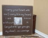 Wedding Picture Frame, Personalized Photo, EE Cummings Quote, I carry your heart with me, Bridal Shower Gift, Engagement, Anniversary