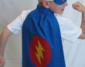 Super Hero Cape and Mask Set - Blue with Lightning Bolt - Great Easter or Birthday Present or costume / photo prop