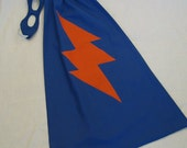 Little SUPER hero Cape and Mask Set - Blue with Orange Lightning Bolt - as is or PERSONALIZE