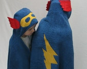 Blue SuperHero Hooded Bath Towel - Great Gift for Infant Toddler or Child
