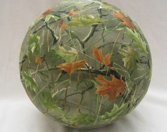 Balloon Cover Ball - Brown and Green Leaf Camo Fabric - Great Birthday Gift for Hunter