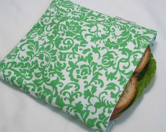 ECO friendly Reusable Lunch/Sandwich Bag - Green and White Scroll Lattice