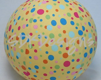 Unique TOY - Fabric Balloon Ball - Yellow with Multi Colored Polka Dots