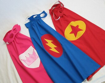 Super Hero Cape and Mask - You choose COLORS & SYMBOL - Great Birthday Gift,  Halloween / Dress Up Costume, or Photo Prop