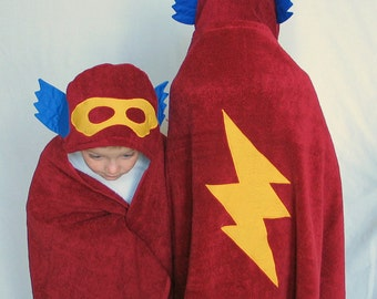 SuperHero Hooded Bath Red TOWEL - Great Birthday Gift for Toddler or Child