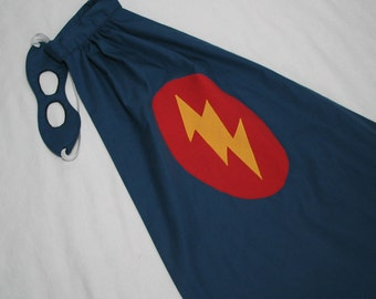 Little Super Hero Cape and Mask Set - Navy Blue with Lightning Bolt - Great Birthday Gift or Halloween Costume