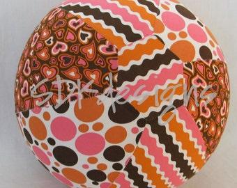 Balloon Ball - Polka Dots, Ric Rack Stripes, and Hearts - Pink Orange Brown