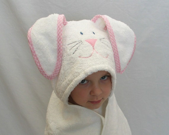 Bunny Rabbit Hooded Bath Towel- pink gingham trim -  Perfect gift for Infant / Toddler / Child